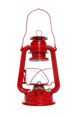 lamp light: Bright red lantern isoalted over a white background