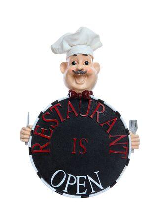 restaurateur: Chef cuisinier tenant un restaurant est ouvert signe