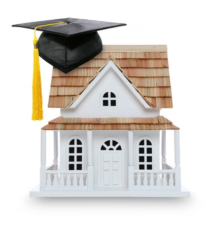 Conceptual photo of college education and home ownership