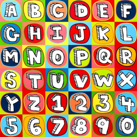 with sets of elements: Colorful alphabet letters and numbers background squares