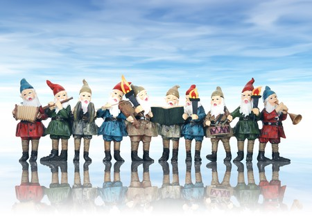 Elves playing their music instruments at Christmas photo