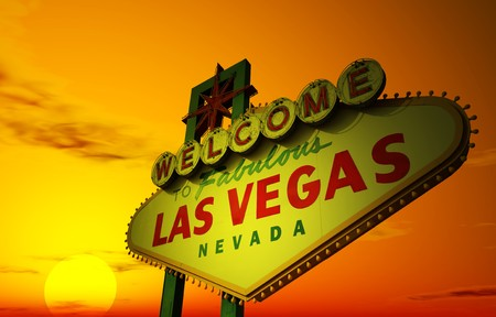A Las Vegas sign with a beautiful sunset in the background Stock Photo