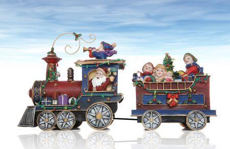 Santa Christmas Train with Kids Having Fun photo
