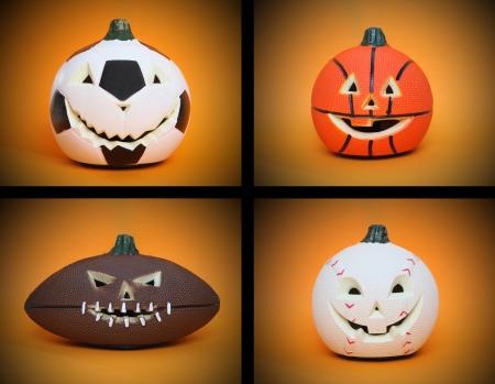 calabazas de halloween: Calabazas de Halloween de deportes de bal�n de f�tbol, baloncesto, b�isbol y f�tbol  Foto de archivo