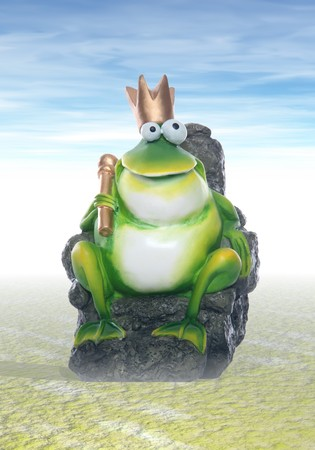 A cute frog king sitting on the rock