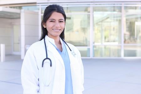 An Indian medical woman nurse outside hospital photo
