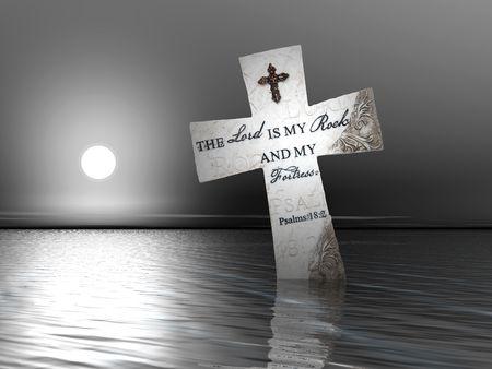 Une croix religieuse avec des versets bibliques dans l'eau au coucher du soleil