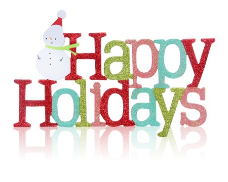 holidays: A colorful Happy Holidays sign with snowman over white background Stock Photo