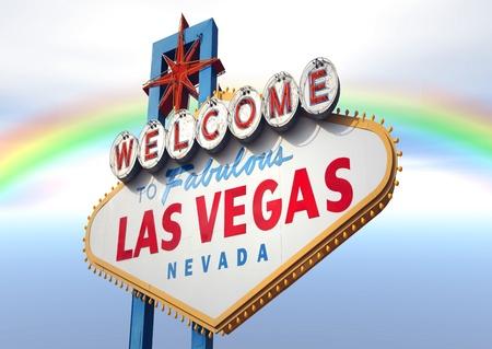 バック グラウンドで美しい虹とラスベガスのサイン 写真素材