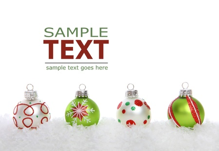A colorful holiday christmas border over a white background Stockfoto