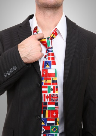coat and tie: Business man with international global flag tie