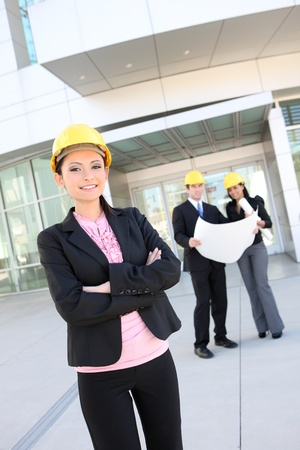A business man and woman construction team at office building Stock Photo - 8689666