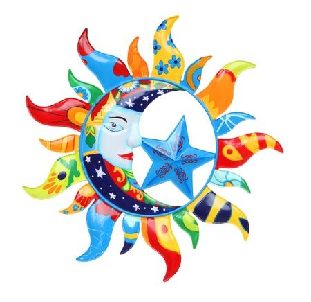 zon maan: Een kleurrijke abstracte zon en maan geïsoleerd over Wit  Stockfoto