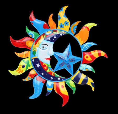 Un soleil abstraite coloré et la Lune isolé sur noir  Banque d'images - 8875264