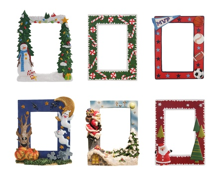 color photographs: Christmas, Halloween and sports colorful picture frames