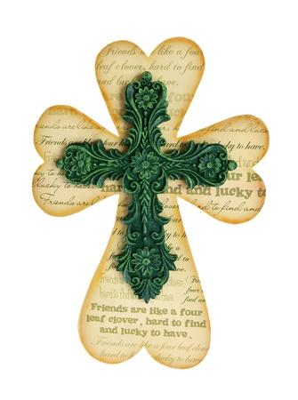 A religious Saint Patricks Day holiday cross photo