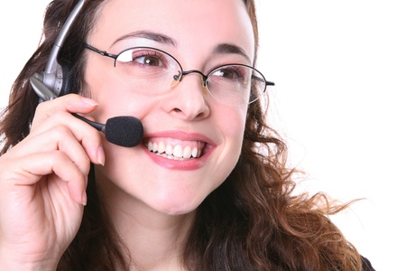 A pretty customer service woman with headphone talking with customer photo