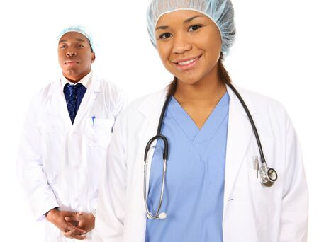 An attractive african american man and woman medical team photo