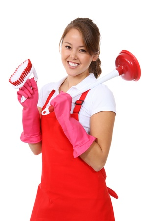 house maid: A cute maid woman cleaner with plunger and brush