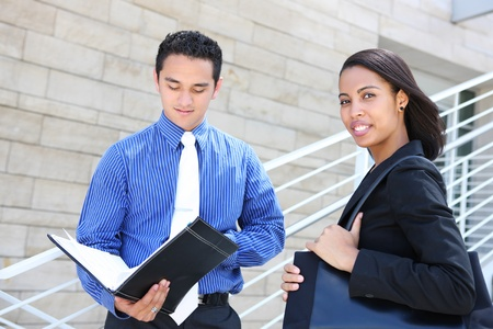 A diverse man and woman business team at their company office building Stock Photo - 10830172