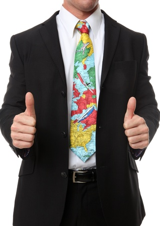A business man with travel themed tie indicating success Stock Photo - 10907643