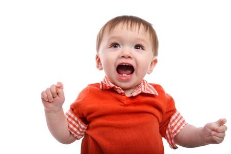 ni�os tristes: Boy Emocionado beb� joven aislado m�s de blanco