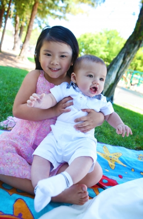 A cute asian girl with boy in the park photo