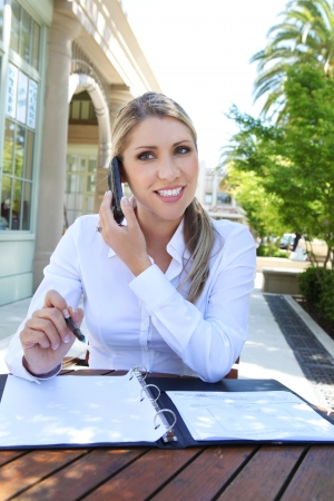 A attractive blonde business woman at office on the phone with notebook photo