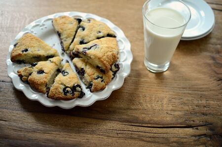 scones: Blueberry scones on a white plate with a glass of milk