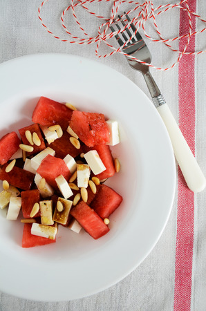 pine nuts: Watermelon and feta salad with pine nuts