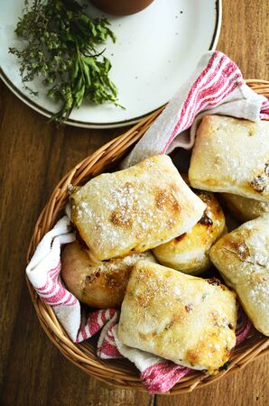 savoury: Savoury bread buns with herbs and dried tomatoes