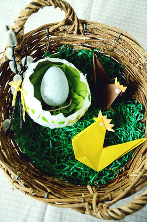 Traditional Easter Basket Wth Origami Paper Chicken And Papier Mache