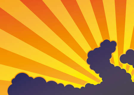 rise and shine: Sunset background with sunburst and clouds Illustration