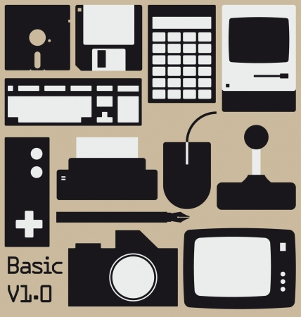 A collection of graphics including retro computer, gaming and design related icons. Vector
