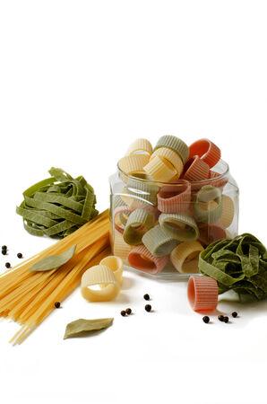 talian: Variation of italian macaroni on white background