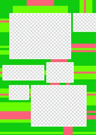 Colorful page for scrapbooking. Retro design square photo frames in green and pink colors. Album template - just insert your photo.