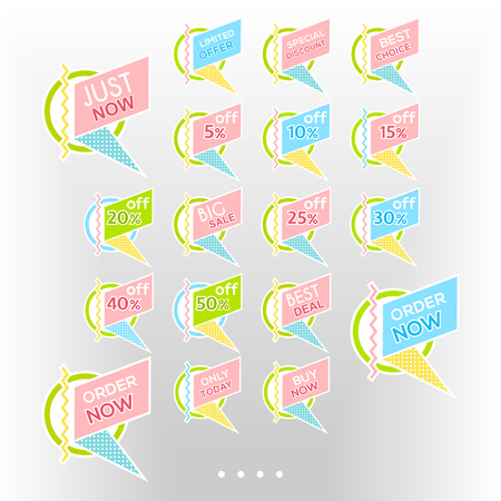 Set of minimalist graphic sale stickers in pale colors. Circles and lines multicolor on white background. Elements for stickers, web page advertisements, price, discount offer price labels, badges, coupons etc.