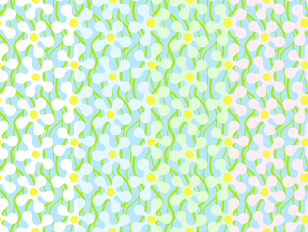 Set of seamless patterns with light abstract flowers on light blue background. Can be printed and used as wrapping paper, wallpaper, textile, fabric, etc. Available in EPS format. Illusztráció