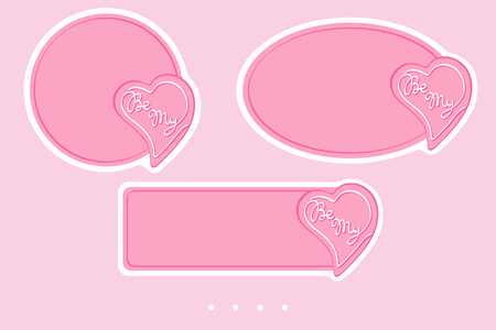 Be My badges for valentine's day. Simple vector design for sales, greetings, stickers, web page ad, labels, badges, coupons, flyers etc. In EPS