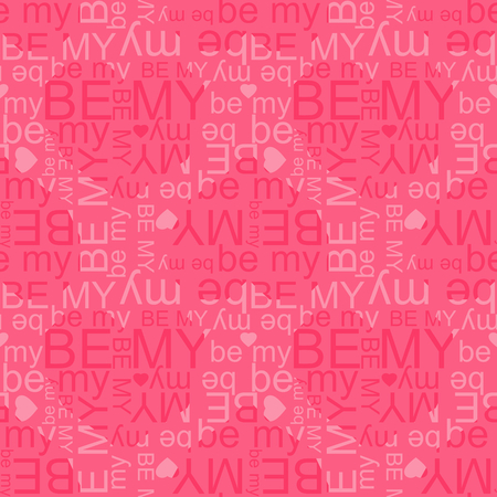 Be My vector seamless pattern. Flying hearts and spirit of love ornament for fabric, web page background, wallpaper, wrapping paper etc. In EPS Illusztráció