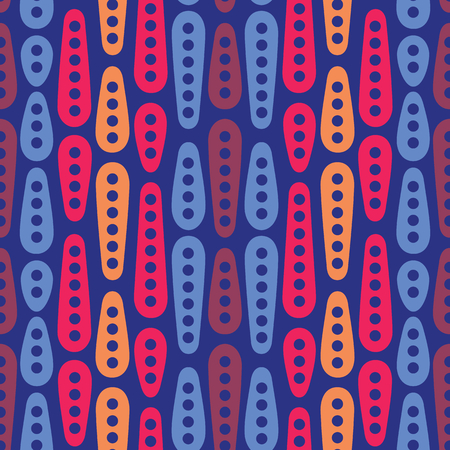 Abstract geometric vector seamless pattern. Simple colorful ornament on dark blue background. Can be printed and used as wrapping paper, wallpaper, textile, fabric, etc.