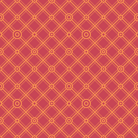 Simple classic geometric ornament with hot lines and circles. Vector seamless pattern for textile, prints, wallpaper, wrapping paper, web decor etc.