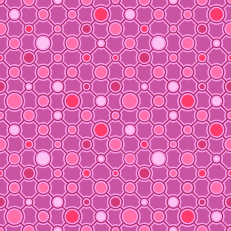 Simple classic geometric ornament with dark lines and circles. Vector seamless pattern for textile, prints, wallpaper, wrapping paper, web decor etc.