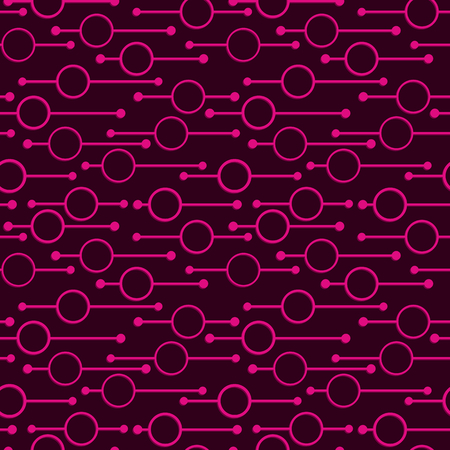 Simple geometric glowing rounds and lines on dark background. Neon lights on abstract vector seamless patterns for textile, prints, wallpaper etc.