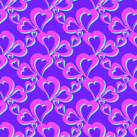 Flying hearts and spirit of love on vector colorful seamless pattern. Bright abstract ornament for textiles, prints, wallpaper, packaging, fabrics, etc. Stock fotó - 122861685