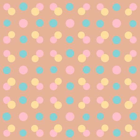 Abstract repeated circles. Flat, retro geometric design. Vector rounded seamless pattern for textile, wallpaper, wrapping paper, prints, fabric, web background or another accent etc.