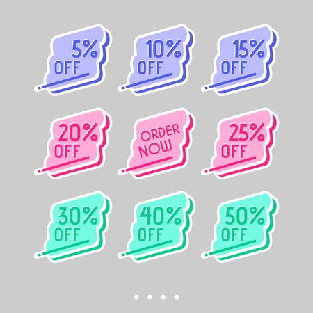 Colorful abstract design on white background. Template sale set for stickers, web page ads, tickets, discount offer price labels, badges, coupons, flyers etc.