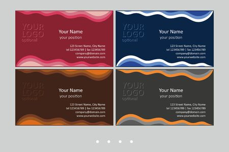 Set of multicolor business card templates. Simple universal abstract design and attractive colors - just add your text. EPS-CMYK-Calibri 版權商用圖片 - 147588944