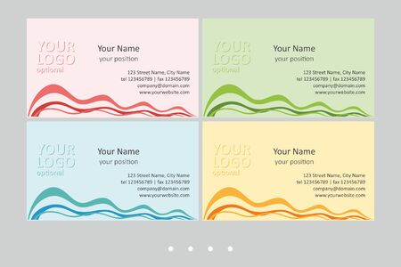 Set of multicolor business card templates. Simple universal abstract design and attractive colors - just add your text. EPS-CMYK-Calibri