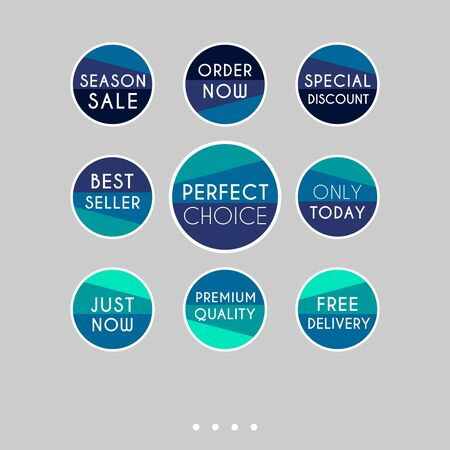 Template sale set. Colorful abstract geometric design for stickers, web page ads, tags, discount offer price labels, badges, coupons, flyers etc. Vectores